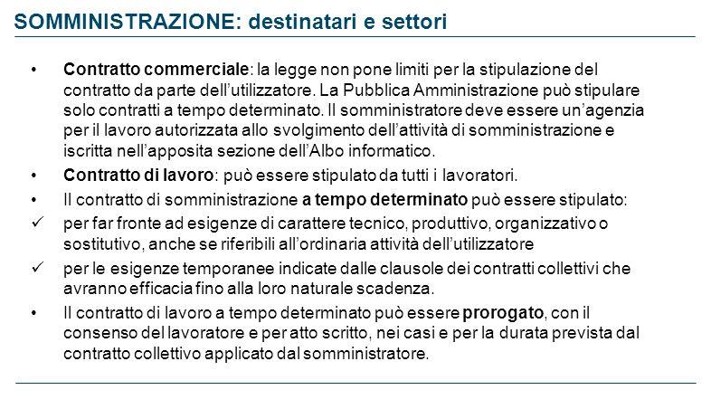 SOMMINISTRAZIONE: destinatari e settori Contratto commerciale: la legge non pone limiti per la stipulazione del contratto da parte dellutilizzatore. L