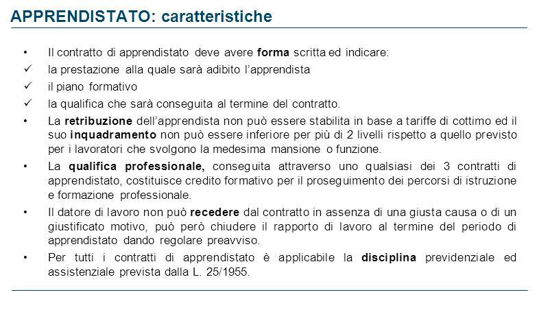 APPRENDISTATO: caratteristiche Il contratto di apprendistato deve avere forma scritta ed indicare: la prestazione alla quale sarà adibito lapprendista