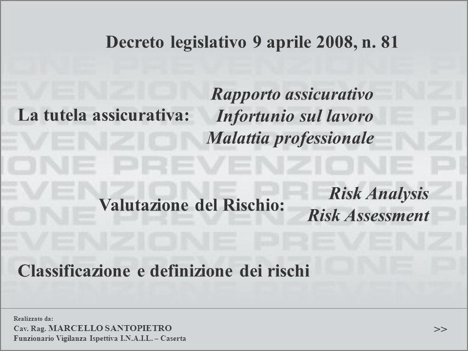 Decreto legislativo 9 aprile 2008, n. 81 La tutela assicurativa: Rapporto assicurativo Infortunio sul lavoro Malattia professionale Valutazione del Ri