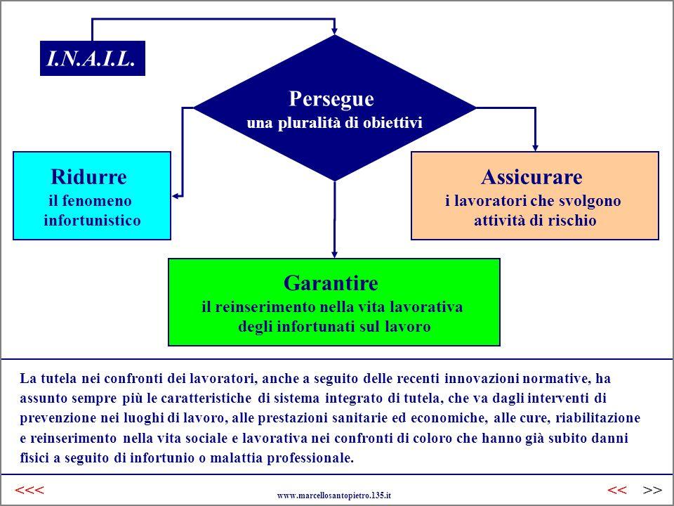 Inail Italia Persegue una pluralità di obiettivi Ridurre il fenomeno infortunistico Garantire il reinserimento nella vita lavorativa degli infortunati