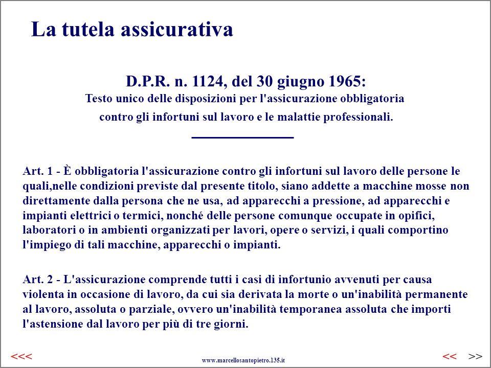 La tutela assicurativa D.P.R. n. 1124, del 30 giugno 1965: Testo unico delle disposizioni per l'assicurazione obbligatoria contro gli infortuni sul la