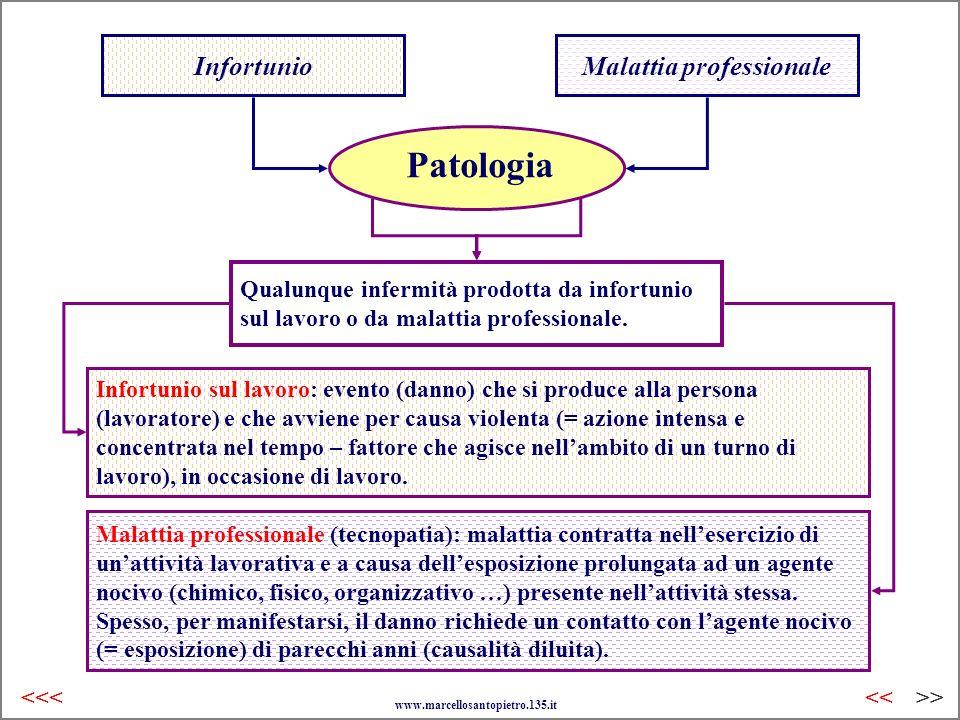 Malattia professionale (tecnopatia): malattia contratta nellesercizio di unattività lavorativa e a causa dellesposizione prolungata ad un agente nociv