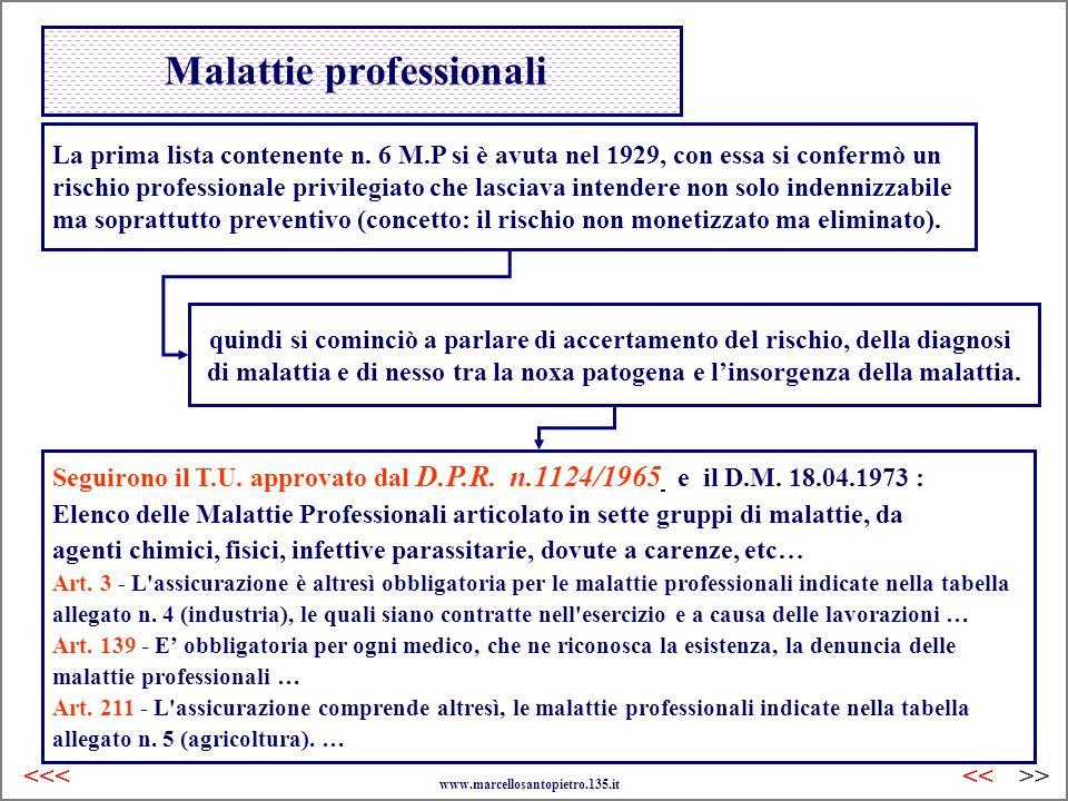 Malattie professionali La prima lista contenente n. 6 M.P si è avuta nel 1929, con essa si confermò un rischio professionale privilegiato che lasciava