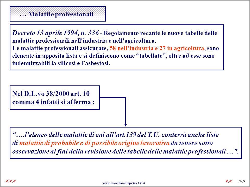 … Malattie professionali Decreto 13 aprile 1994, n. 336 - Regolamento recante le nuove tabelle delle malattie professionali nell'industria e nell'agri