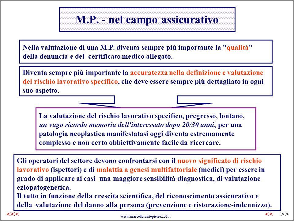 M.P. - nel campo assicurativo Nella valutazione di una M.P. diventa sempre più importante la