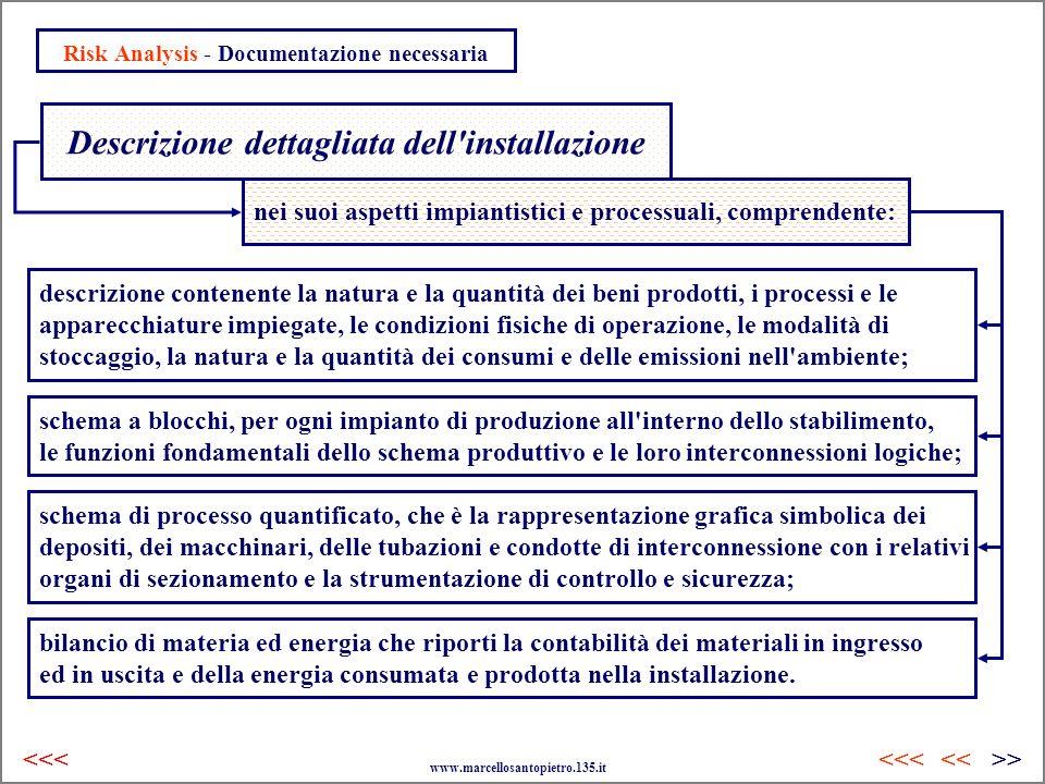 Risk Analysis - Documentazione necessaria Descrizione dettagliata dell'installazione nei suoi aspetti impiantistici e processuali, comprendente: descr