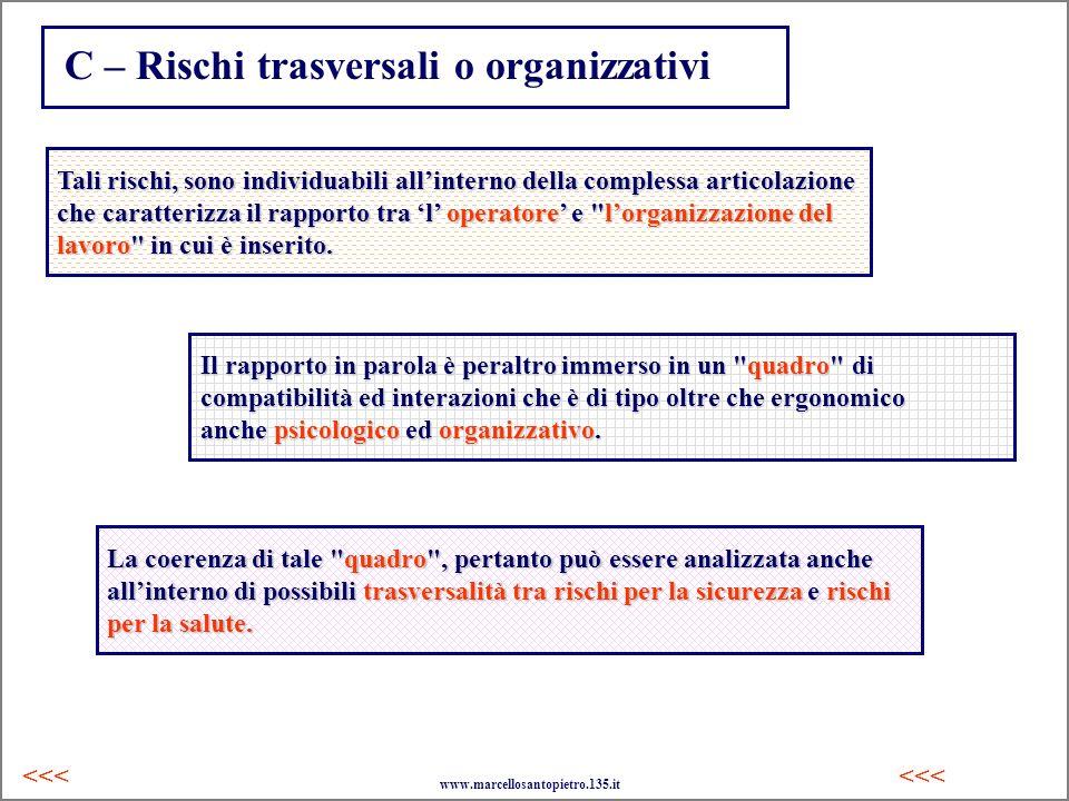 C – Rischi trasversali o organizzativi <<< Tali rischi, sono individuabili allinterno della complessa articolazione che caratterizza il rapporto tra l
