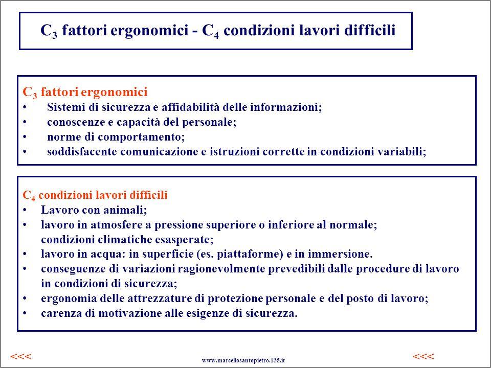 C 3 fattori ergonomici - C 4 condizioni lavori difficili C 4 condizioni lavori difficili Lavoro con animali; lavoro in atmosfere a pressione superiore