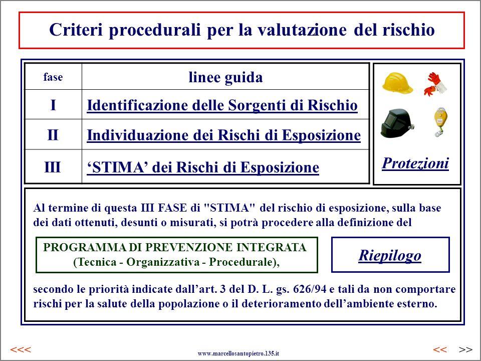 Criteri procedurali per la valutazione del rischio fase linee guida IIdentificazione delle Sorgenti di Rischio IIIndividuazione dei Rischi di Esposizi