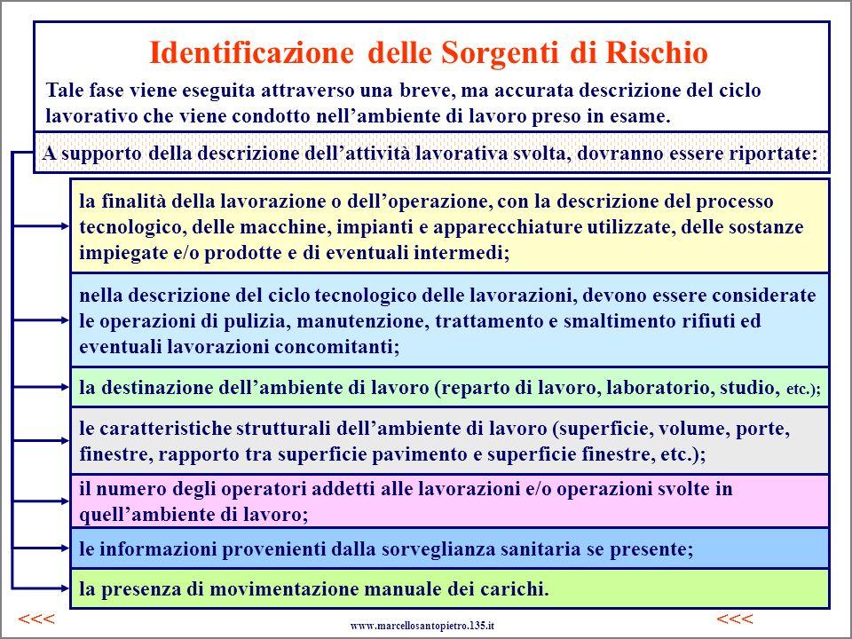Identificazione delle Sorgenti di Rischio Tale fase viene eseguita attraverso una breve, ma accurata descrizione del ciclo lavorativo che viene condot