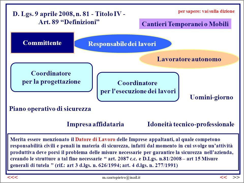 D. Lgs. 9 aprile 2008, n. 81 - Titolo IV - Art. 89 Definizioni Cantieri Temporanei o Mobili Idoneità tecnico-professionale Responsabile dei lavori Coo