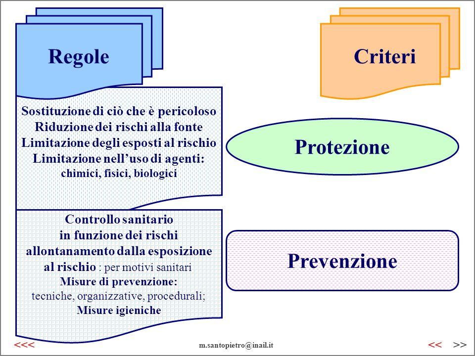 Prevenzione Protezione Sostituzione di ciò che è pericoloso Riduzione dei rischi alla fonte Limitazione degli esposti al rischio Limitazione nelluso d