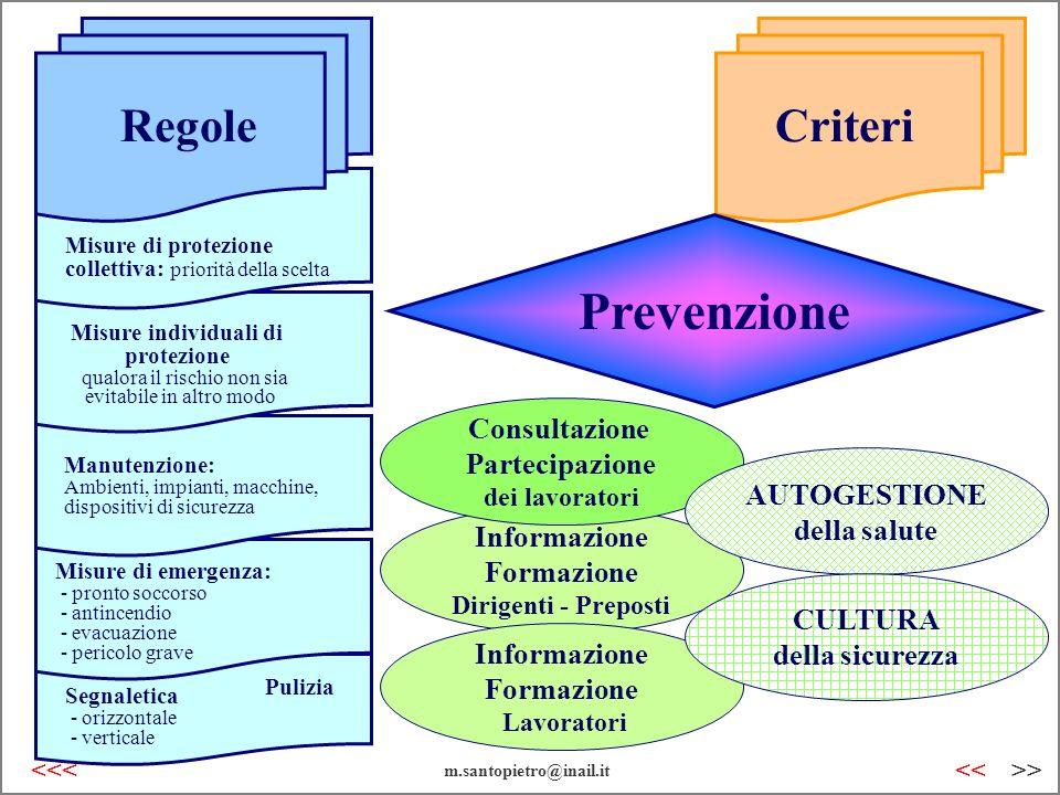 Informazione Formazione Dirigenti - Preposti Consultazione Partecipazione dei lavoratori Regole Criteri Misure di protezione collettiva: priorità dell