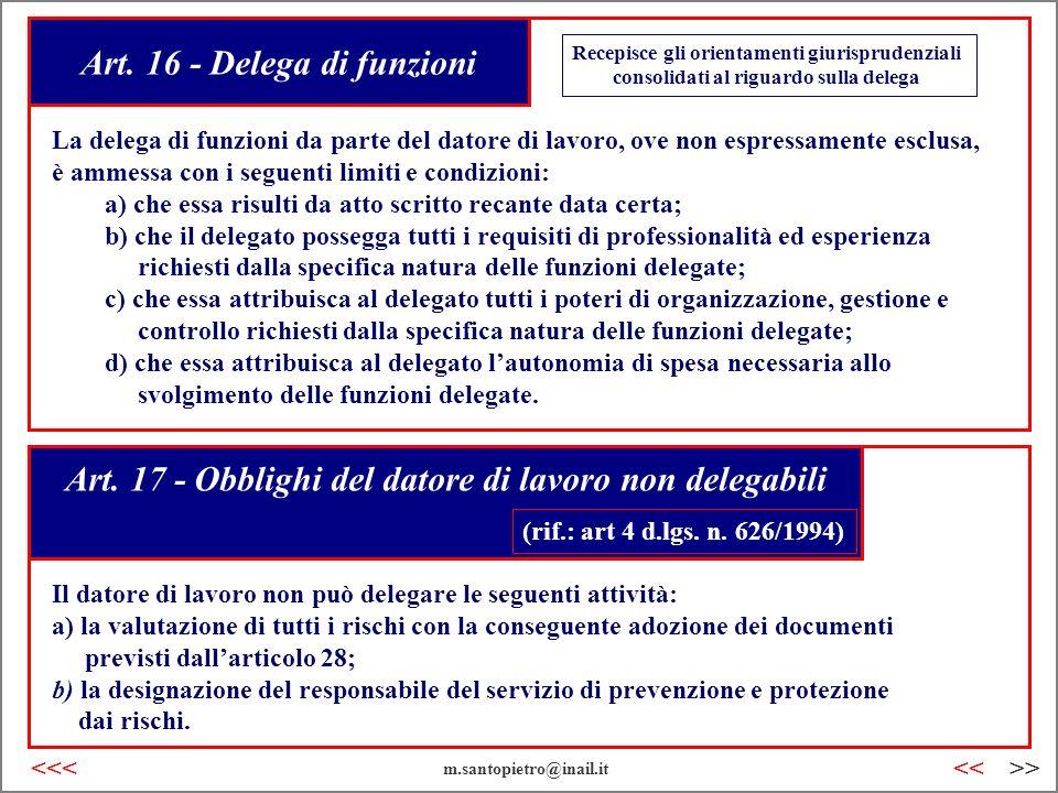 Art. 16 - Delega di funzioni Art. 17 - Obblighi del datore di lavoro non delegabili Il datore di lavoro non può delegare le seguenti attività: a) la v