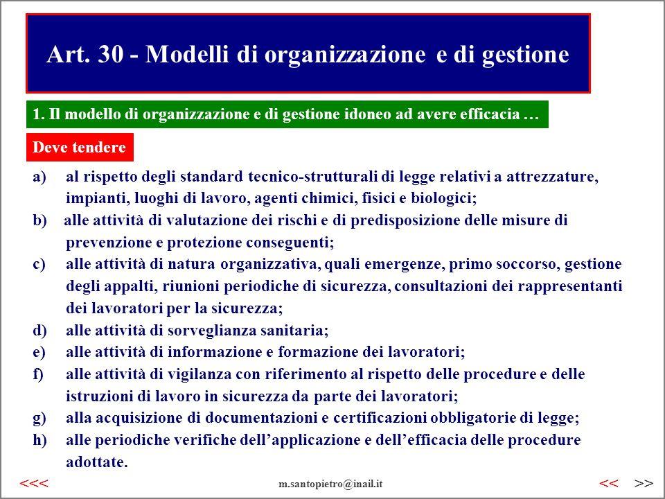 Art. 30 - Modelli di organizzazione e di gestione a)al rispetto degli standard tecnico-strutturali di legge relativi a attrezzature, impianti, luoghi