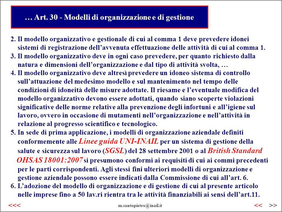 … Art. 30 - Modelli di organizzazione e di gestione 2. Il modello organizzativo e gestionale di cui al comma 1 deve prevedere idonei sistemi di regist