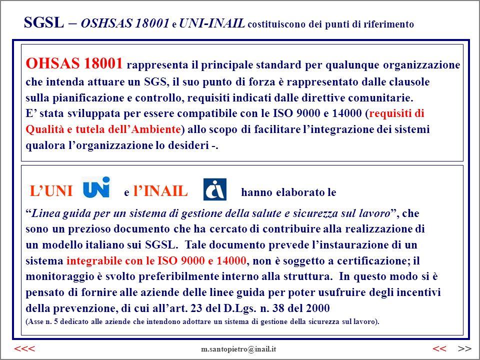 SGSL – OSHSAS 18001 e UNI-INAIL costituiscono dei punti di riferimento Linea guida per un sistema di gestione della salute e sicurezza sul lavoro, che