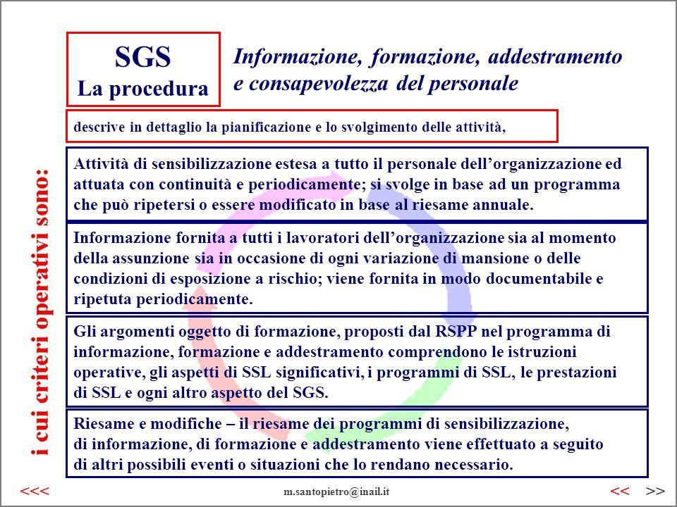 SGS La procedura Informazione, formazione, addestramento e consapevolezza del personale Attività di sensibilizzazione estesa a tutto il personale dell