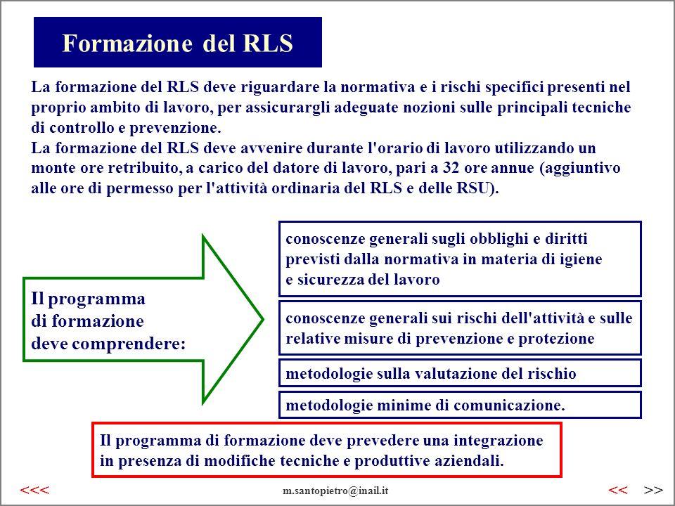 Formazione del RLS La formazione del RLS deve riguardare la normativa e i rischi specifici presenti nel proprio ambito di lavoro, per assicurargli ade