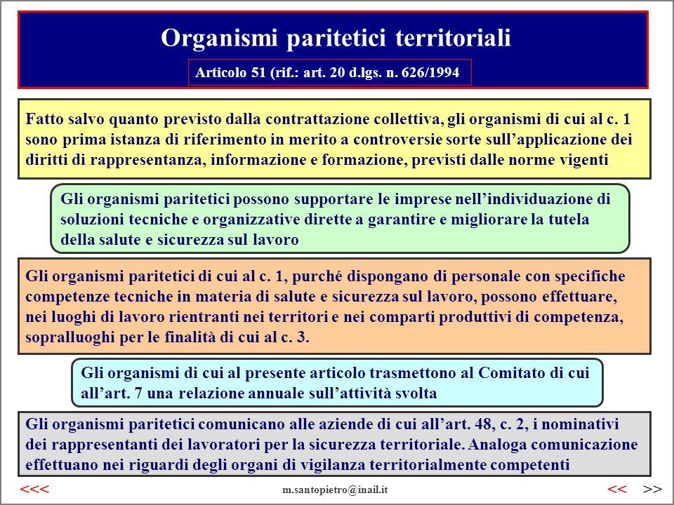 Organismi paritetici territoriali Articolo 51 (rif.: art. 20 d.lgs. n. 626/1994) Fatto salvo quanto previsto dalla contrattazione collettiva, gli orga