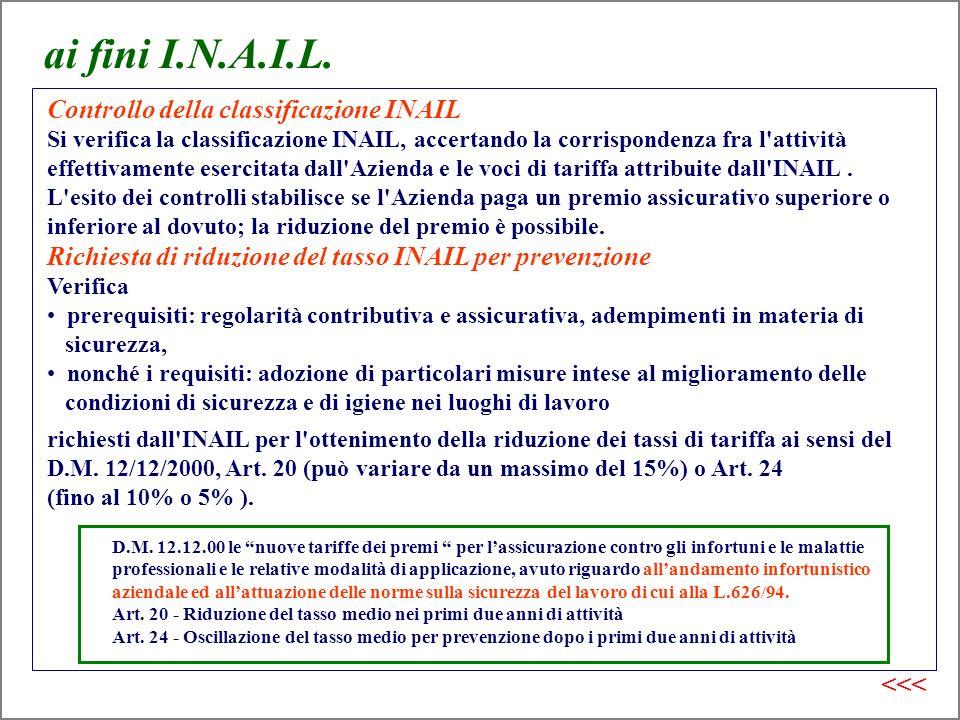ai fini I.N.A.I.L. Controllo della classificazione INAIL Si verifica la classificazione INAIL, accertando la corrispondenza fra l'attività effettivame