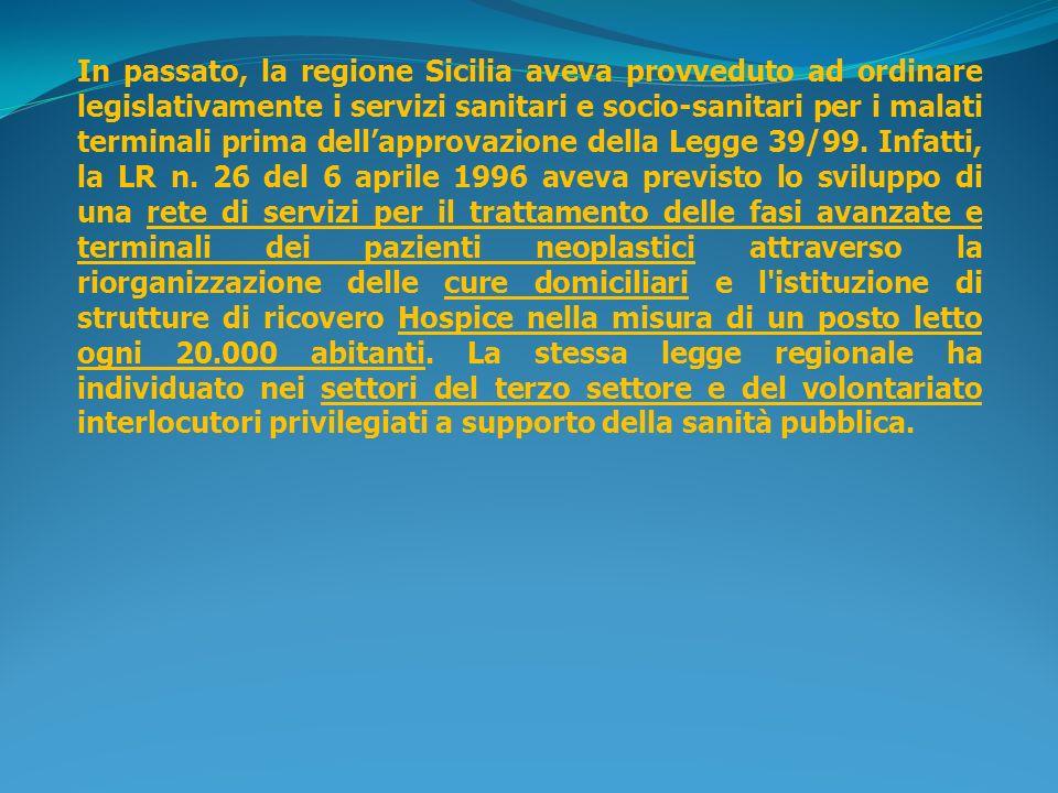 In passato, la regione Sicilia aveva provveduto ad ordinare legislativamente i servizi sanitari e socio-sanitari per i malati terminali prima dellappr
