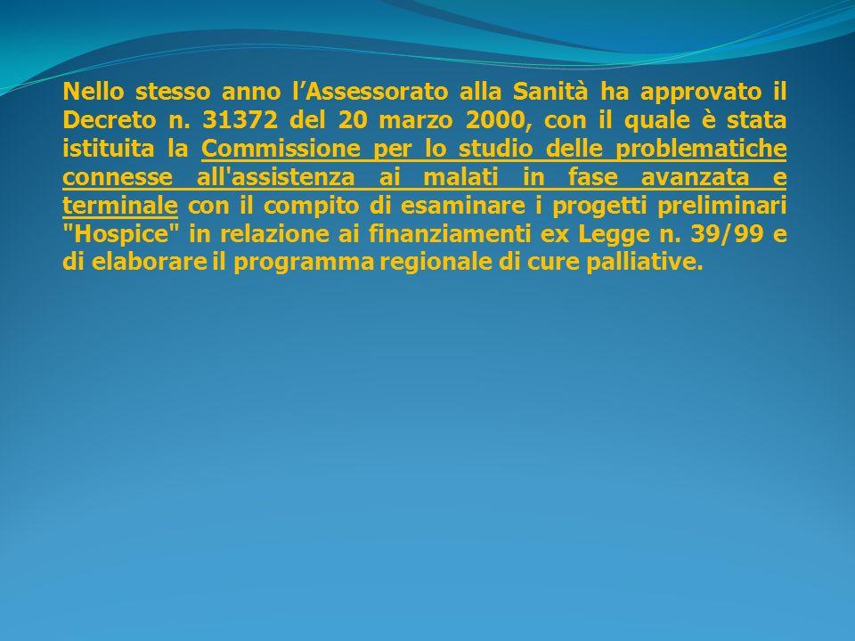 Nello stesso anno lAssessorato alla Sanità ha approvato il Decreto n. 31372 del 20 marzo 2000, con il quale è stata istituita la Commissione per lo st