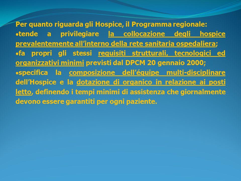 Per quanto riguarda gli Hospice, il Programma regionale: tende a privilegiare la collocazione degli hospice prevalentemente allinterno della rete sani