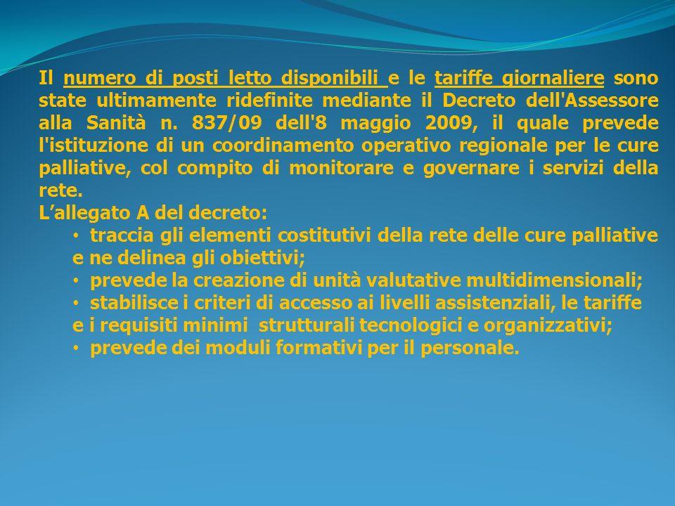 Lorganizzazione della rete per le cure palliative è stata interessata altresì dal Decreto assessoriale n.
