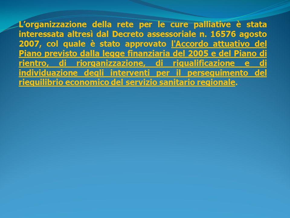 Lorganizzazione della rete per le cure palliative è stata interessata altresì dal Decreto assessoriale n. 16576 agosto 2007, col quale è stato approva