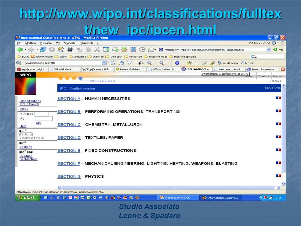 Studio Associato Leone & Spadaro http://www.wipo.int/classifications/fulltex t/new_ipc/ipcen.html