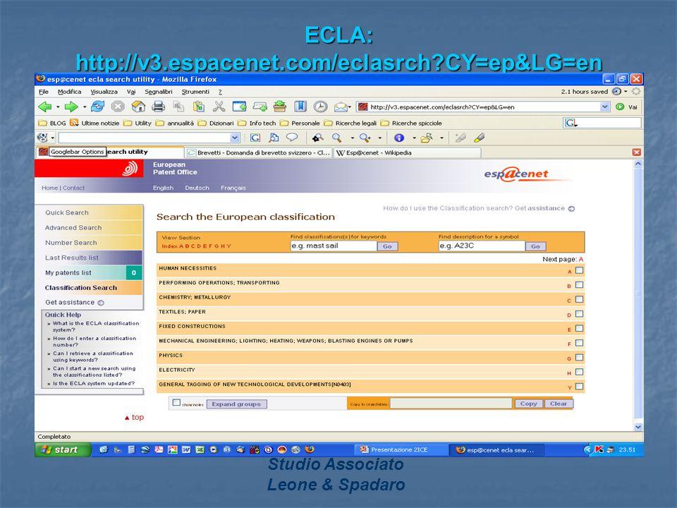 Studio Associato Leone & Spadaro ECLA: http://v3.espacenet.com/eclasrch?CY=ep&LG=en