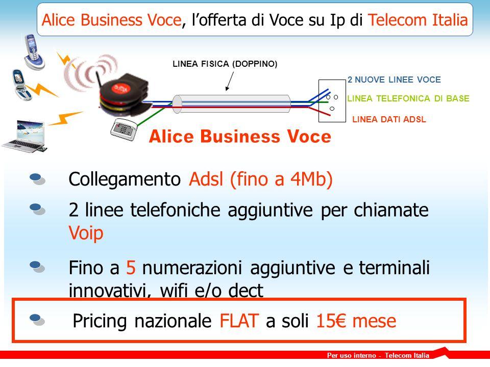 Alice Business Voce, lofferta di Voce su Ip di Telecom Italia 2 NUOVE LINEE VOCE LINEA FISICA (DOPPINO) LINEA TELEFONICA DI BASE LINEA DATI ADSL Collegamento Adsl (fino a 4Mb) 2 linee telefoniche aggiuntive per chiamate Voip Fino a 5 numerazioni aggiuntive e terminali innovativi, wifi e/o dect Pricing nazionale FLAT a soli 15 mese