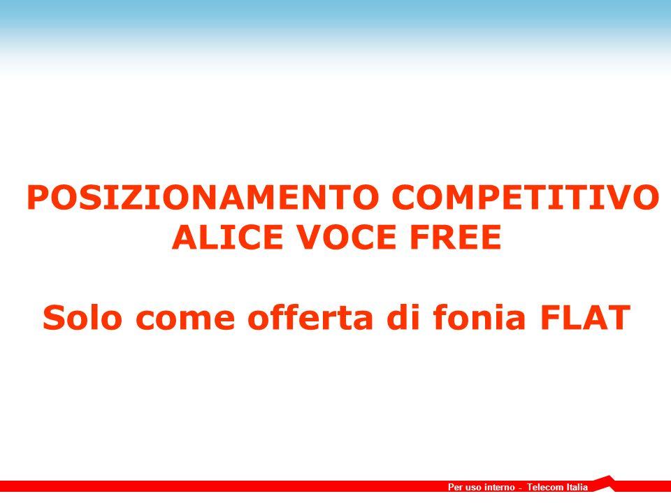 Per uso interno - Telecom Italia POSIZIONAMENTO COMPETITIVO ALICE VOCE FREE Solo come offerta di fonia FLAT