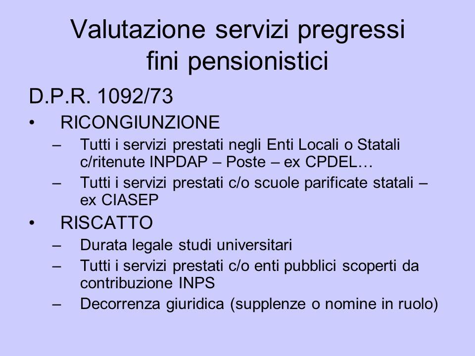 Valutazione servizi pregressi fini pensionistici D.P.R. 1092/73 RICONGIUNZIONE –Tutti i servizi prestati negli Enti Locali o Statali c/ritenute INPDAP