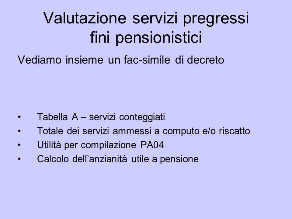 Valutazione servizi pregressi fini pensionistici Vediamo insieme un fac-simile di decreto Tabella A – servizi conteggiati Totale dei servizi ammessi a
