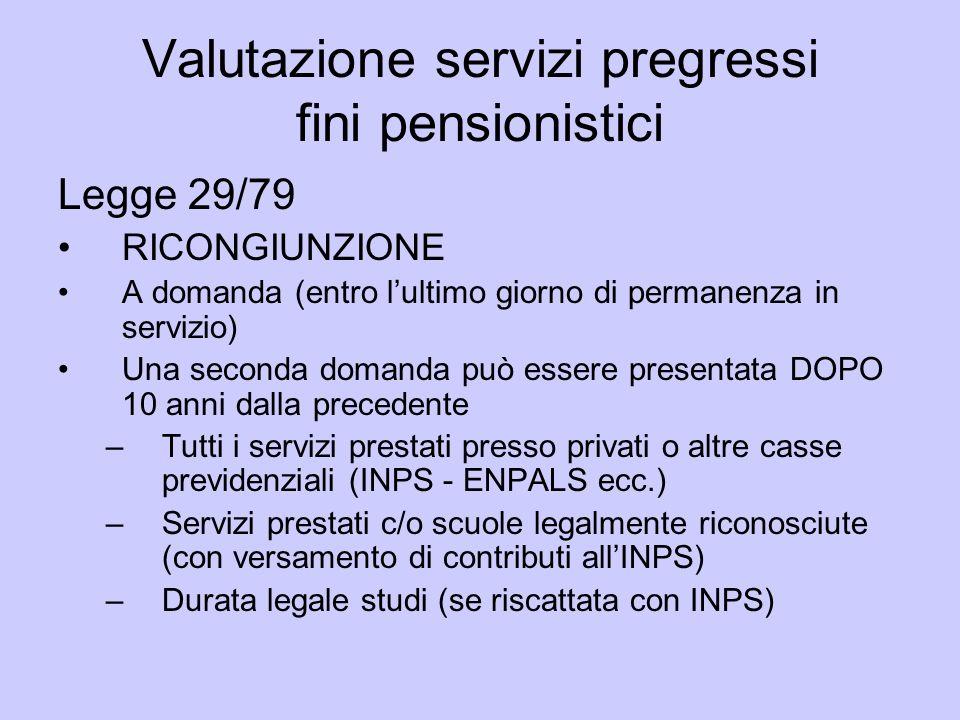 Valutazione servizi pregressi fini pensionistici Legge 29/79 RICONGIUNZIONE A domanda (entro lultimo giorno di permanenza in servizio) Una seconda dom