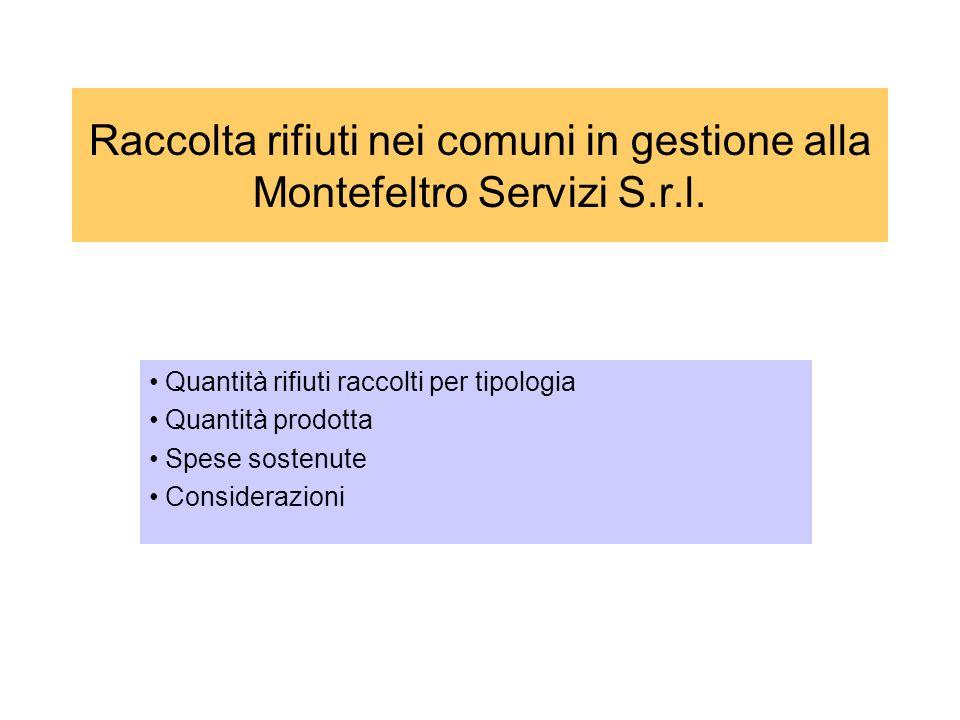 Scopo di questo lavoro è la rappresentazione dei dati precisi e puntuali sulla raccolta dei rifiuti nei vari Comuni serviti dalla Montefeltro Servizi S.r.l.