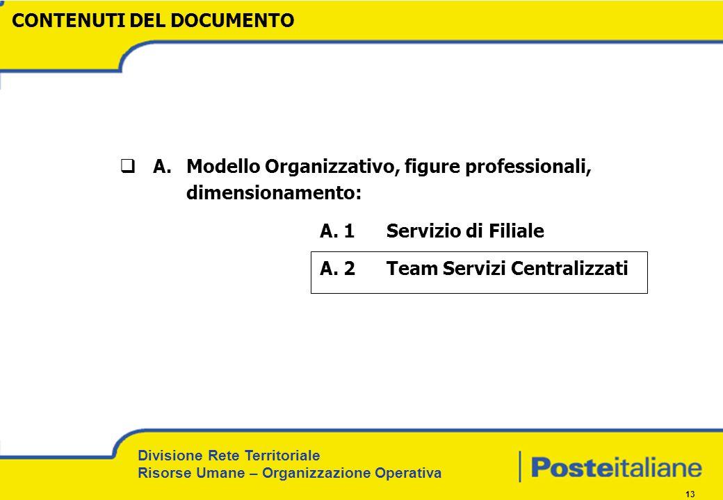 Divisione Rete Territoriale Risorse Umane – Organizzazione Operativa 13 CONTENUTI DEL DOCUMENTO A. Modello Organizzativo, figure professionali, dimens