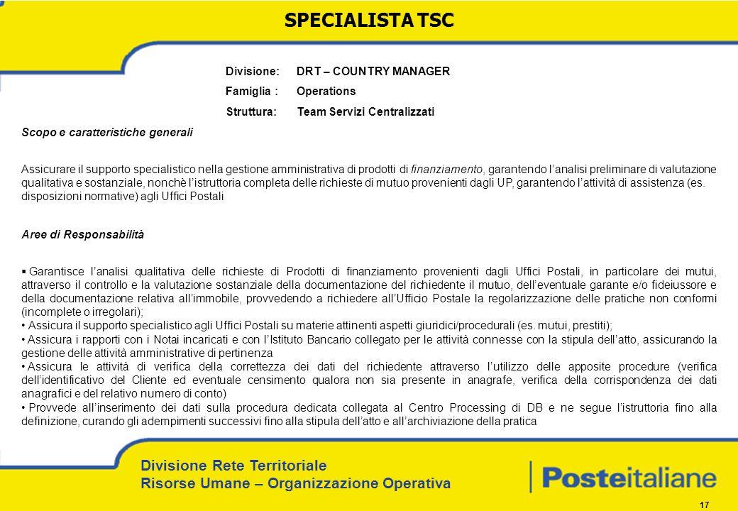 Divisione Rete Territoriale Risorse Umane – Organizzazione Operativa 17 Divisione: DRT – COUNTRY MANAGER Famiglia : Operations Struttura: Team Servizi