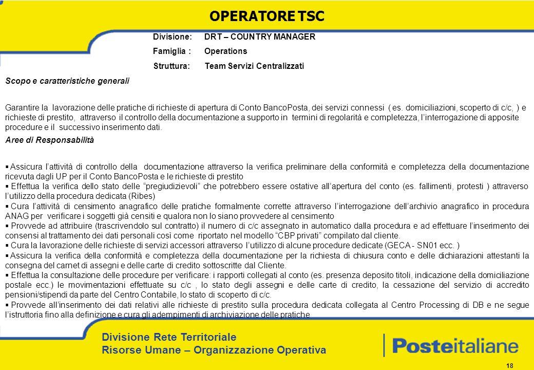 Divisione Rete Territoriale Risorse Umane – Organizzazione Operativa 18 Divisione: DRT – COUNTRY MANAGER Famiglia : Operations Struttura: Team Servizi
