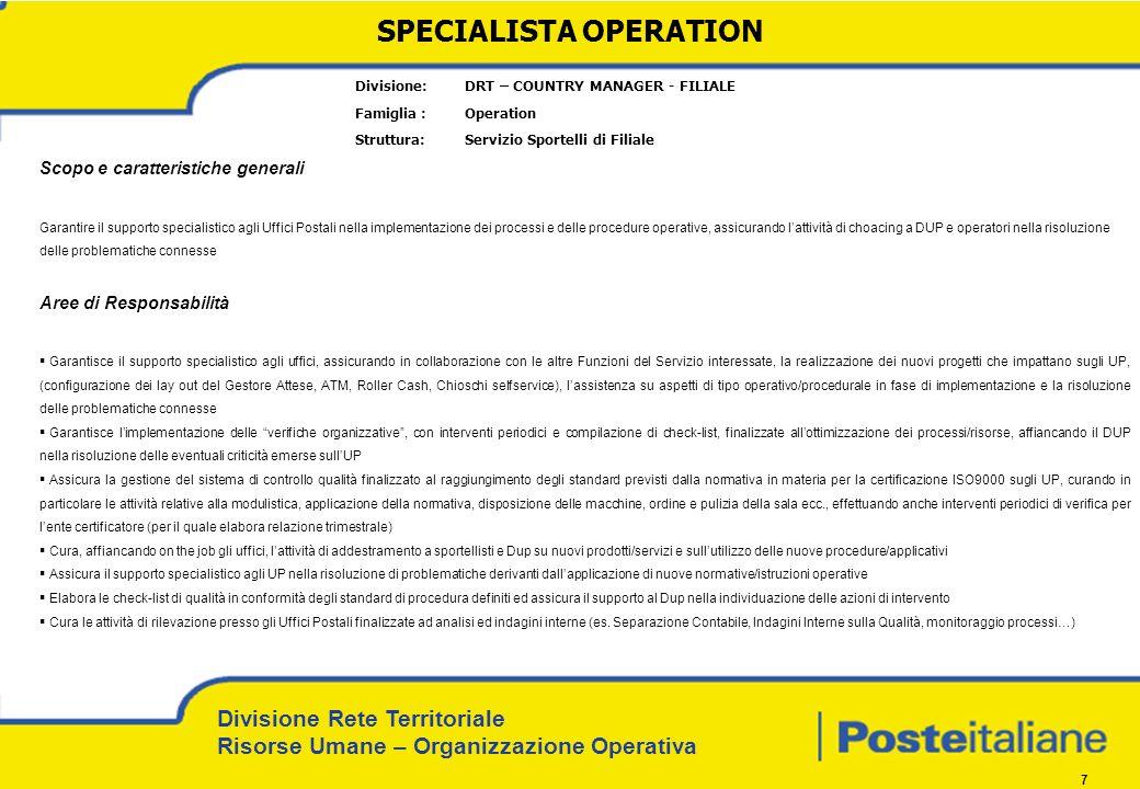 Divisione Rete Territoriale Risorse Umane – Organizzazione Operativa 7 Divisione: DRT – COUNTRY MANAGER - FILIALE Famiglia : Operation Struttura: Serv