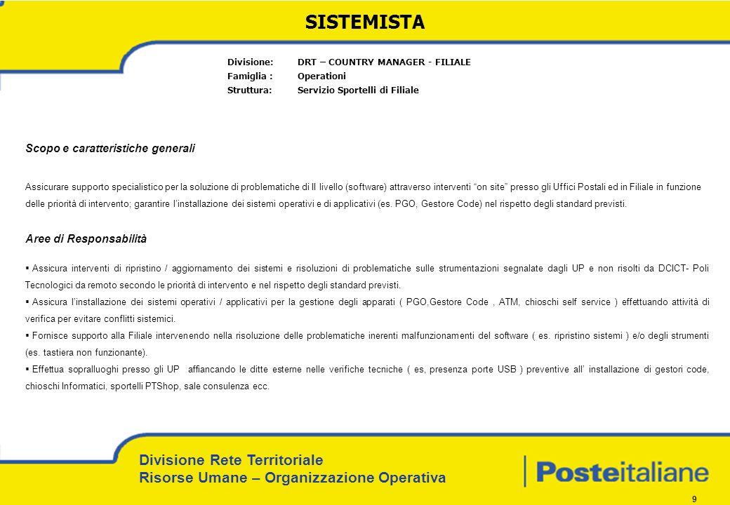 Divisione Rete Territoriale Risorse Umane – Organizzazione Operativa 9 SISTEMISTA Divisione: DRT – COUNTRY MANAGER - FILIALE Famiglia : Operationi Str