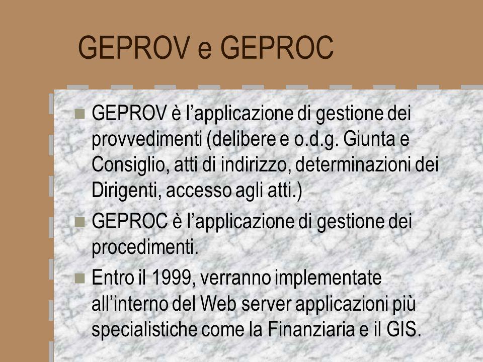 GEPROV e GEPROC GEPROV è lapplicazione di gestione dei provvedimenti (delibere e o.d.g. Giunta e Consiglio, atti di indirizzo, determinazioni dei Diri