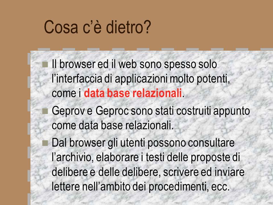 Cosa cè dietro? Il browser ed il web sono spesso solo linterfaccia di applicazioni molto potenti, come i data base relazionali. Geprov e Geproc sono s