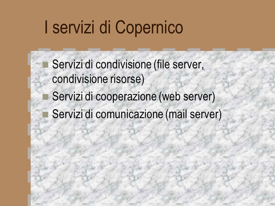 Servizi di condivisione: file server Il file server è una directory condivisa da tutte le stazioni di lavoro della rete (sia Windows che Mac) Qui vengono depositati i file di uso più comune per gli utenti Oppure vengono salvati i file per larchiviazione ottica, ai sensi della normativa AIPA