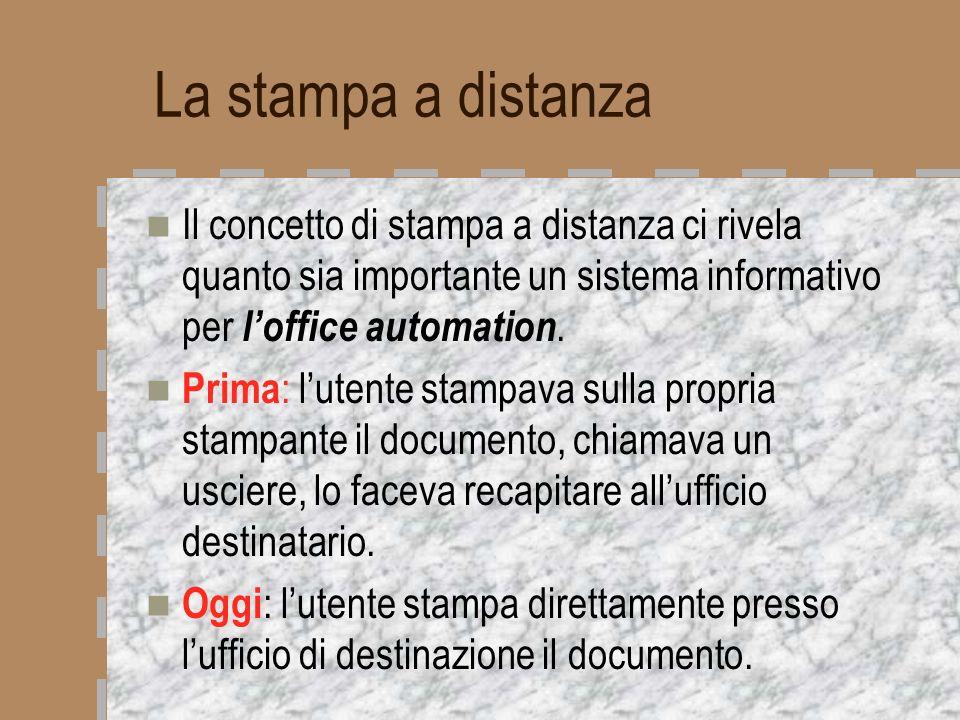 La stampa a distanza Il concetto di stampa a distanza ci rivela quanto sia importante un sistema informativo per loffice automation. Prima : lutente s