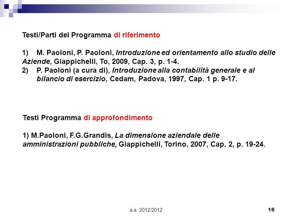a.a. 2012/201216 Testi Programma di approfondimento 1) M.Paoloni, F.G.Grandis, La dimensione aziendale delle amministrazioni pubbliche, Giappichelli,