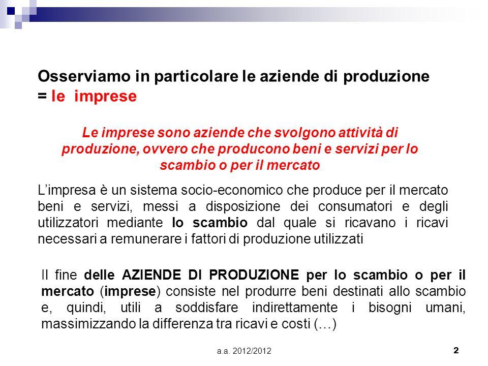 a.a. 2012/20122 Osserviamo in particolare le aziende di produzione = le imprese Le imprese sono aziende che svolgono attività di produzione, ovvero ch