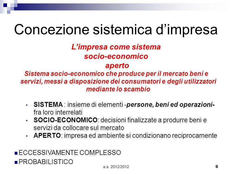 a.a. 2012/20126 Concezione sistemica dimpresa Limpresa come sistema socio-economico aperto Sistema socio-economico che produce per il mercato beni e s